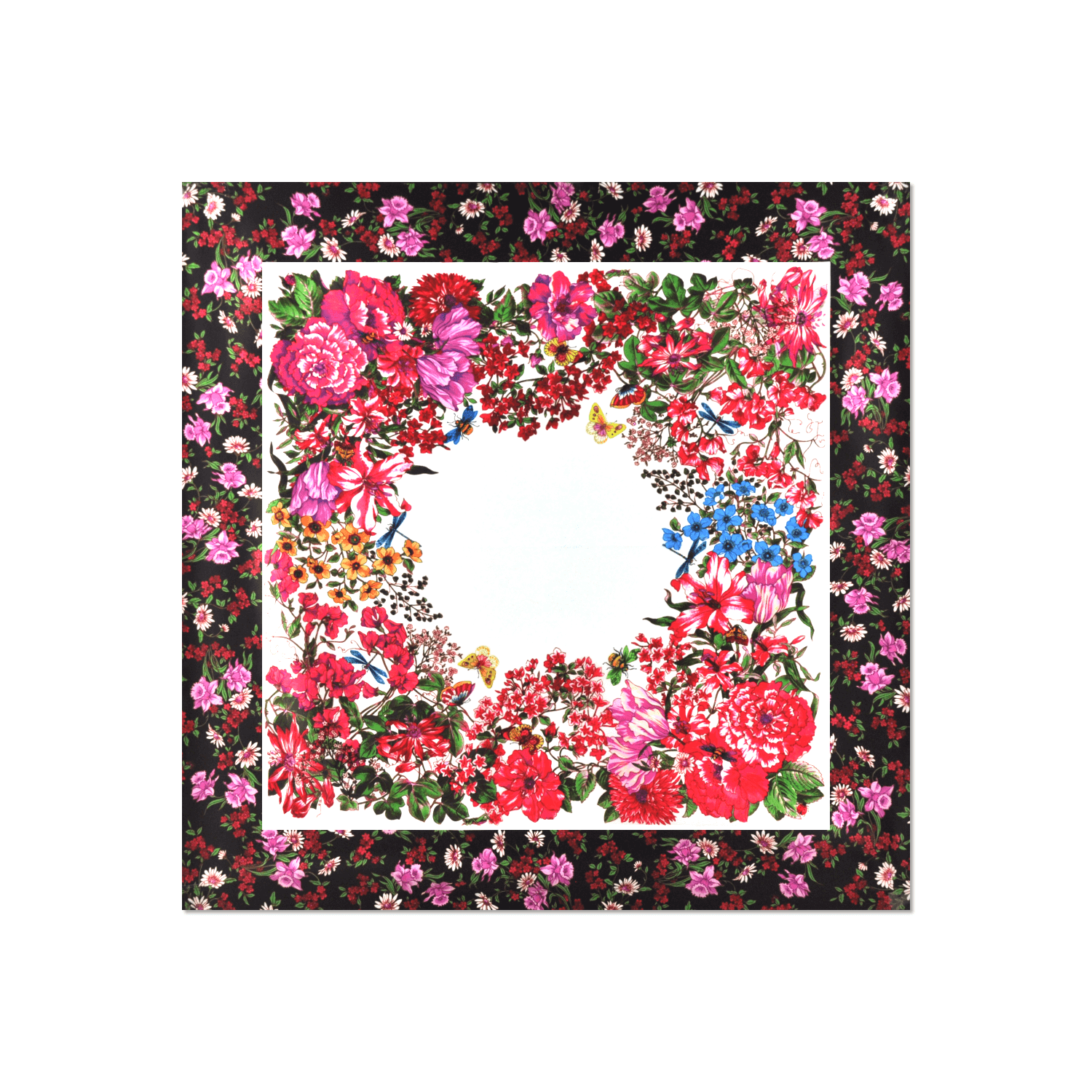 Black and pink floral scarf with border