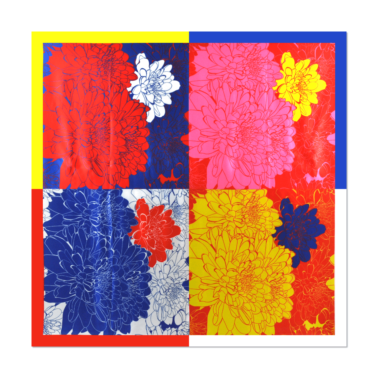 Pop Art Flower Silk Scarf - 90 x 90cm