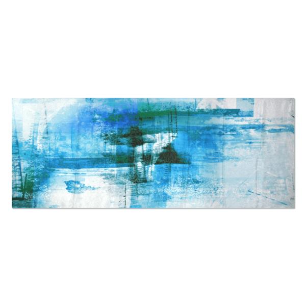 Tessago Blue Art Print Satin Silk Scarf - 75 in