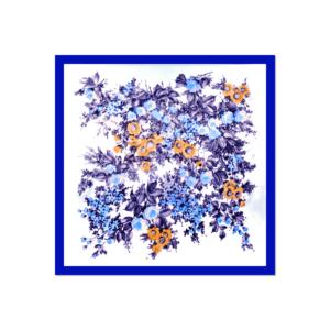 Tessago Blue Satin Floral Print Scarf - 35 x 35 cm