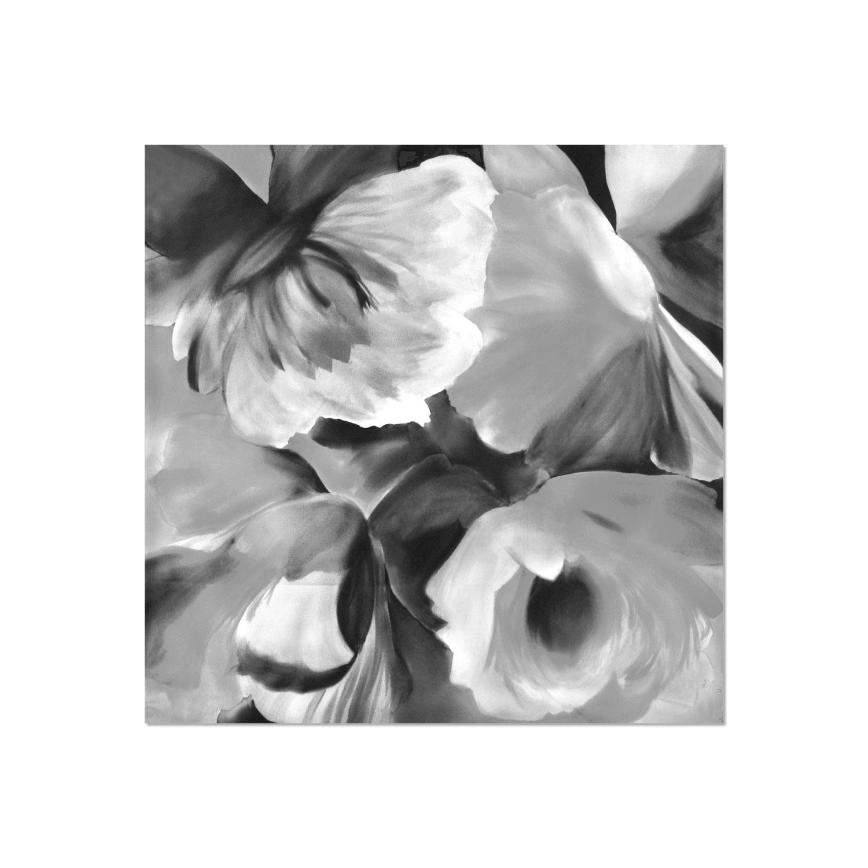 Tessago Impressionist Satin Grey Floral Print Scarf - 35 x 35 inch