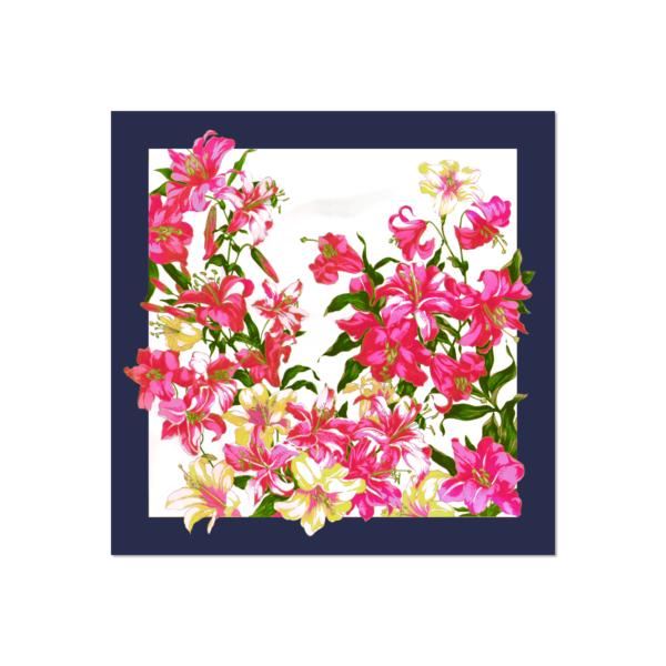 Tessago Navy Frame Satin Floral Print Scarf - 35 x 35 inch